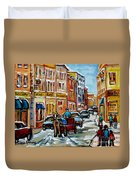 Paintings Of Old Port Quebec Vieux Montreal Memories Rue Notre Dame Snowscenes Art Carole Spandau Duvet Cover