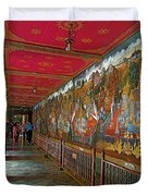 Paintings On Wall Of Middle Court Hallof Grand Palace Of Thailand Duvet Cover