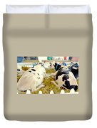 Pair Of Black And White Cows 3 Duvet Cover