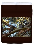Pair Of Great Horned Owls Duvet Cover