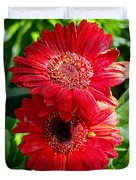 Pair Of Red Gerber Daisy Flowers With Ladybug Duvet Cover