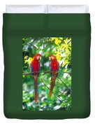 Pair Of Scarlet Macaws Duvet Cover