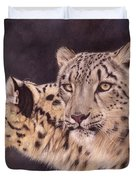 Pair Of Snow Leopards Duvet Cover