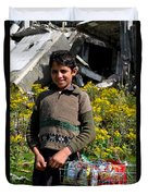 Pakistani Boy In Front Of Hotel Ruins In Swat Valley Duvet Cover