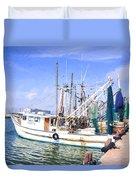 Palacios Texas Shrimp Boat Lineup Duvet Cover