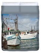 Palacios Texas Two Boats In View Duvet Cover