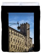 Palazzo Pretorio And The Tower Of Little Pig Duvet Cover