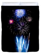 Pale Blue And Red Fireworks Duvet Cover