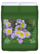 Pale Pink Fleabane Blooms With Decorations Duvet Cover