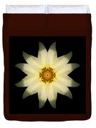 Pale Yellow Daffodil Flower Mandala Duvet Cover by David J Bookbinder