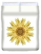 Pale Yellow Gerbera Daisy I Flower Mandala White Duvet Cover
