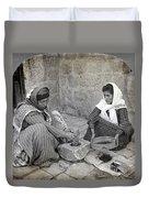 Palestine Grinding Coffee Duvet Cover