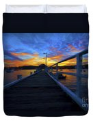 Palm Beach Wharf At Sunset Duvet Cover