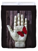 Palm Reading Hand And Butterfly Duvet Cover