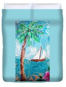 Palm Tree And Sailboat By Jan Marvin Duvet Cover