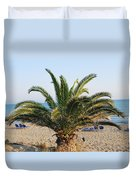 Palm Tree By The Beach Duvet Cover