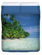 Palm Tree Lined Beach Papua New Guinea Duvet Cover