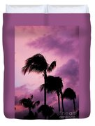 Palm Tree Silhouettes At Dusk In Aruba Duvet Cover