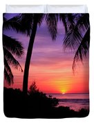 Palm Tree Sunset In Paradise Duvet Cover