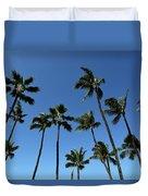 Palm Trees Against A Clear Blue Sky Duvet Cover