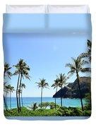 Palm Trees Along The Coast Of Waimanalo Duvet Cover