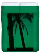 Palm Trees And Emerald Sky. Duvet Cover