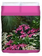 Palms And Flowers Duvet Cover