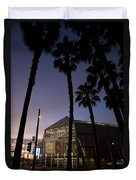 Palm Trees And Hp Pavilion San Jose At Night Duvet Cover