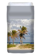 Palm Trees At The Beach Duvet Cover