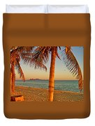 Palm Trees By A Restaurant On The Beach In Bahia Kino-sonora-mexico Duvet Cover