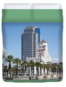 Palm Trees In Downtown Long Beach Duvet Cover