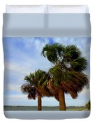 Palm Trees In The Wind Duvet Cover