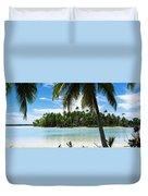 Palm Trees On The Beach, Rangiroa Duvet Cover
