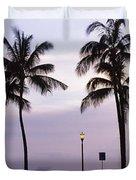 Palm Trees On The Beach, Waikiki Duvet Cover