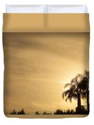 Palm Trees Sunset Over At Sea Of Galilee Duvet Cover