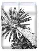 Palm Tree White Duvet Cover