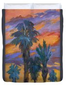 Palms And Sunset Duvet Cover