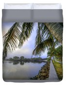 Palms Over The Waterway Duvet Cover