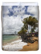 Palms Trees Along Luquillo Beach Duvet Cover