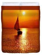 Pamlico Sound Sunset 3 7/26 Duvet Cover