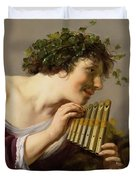 Pan Playing His Pipes Duvet Cover by Paulus Moreelse