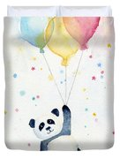 Panda Floating With Balloons Duvet Cover