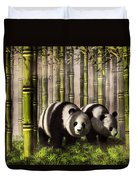 Pandas In A Bamboo Forest Duvet Cover