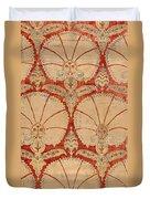 Panel Of Red Cut Velvet With Carnation Duvet Cover
