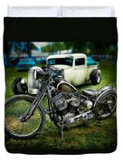 Panhead Harley And Ford Pickup Duvet Cover