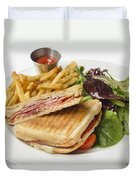 Panini With Ham Melted Cheese French Fries And Salad Duvet Cover
