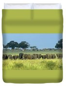 Panorama African Elephant Herd Endangered Species Tanzania Duvet Cover