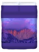 Panorama Alpenglow On Mount Whitney Eastern Sierras California Duvet Cover