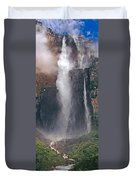 Panorama Angel Falls In Canaima National Park Venezuela Duvet Cover