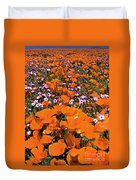 Panorama Califonria Poppies And Hollyleaf Gilia Wildflowers Duvet Cover